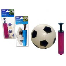 "144 Units of Inflatable 4.7""Dia Soccer Ball + Ball Pump"