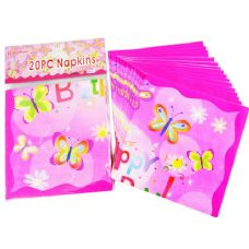 144 Units of NAPKINS20PC 2-PLY BUTTERFLY DE 33X33CM - Party Paper Goods
