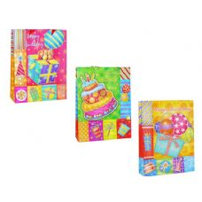 144 Units of BAG BIRTHDAY W/GL 26X10X34CM 3ASST DESIGN - Gift Bags Assorted