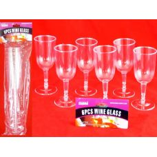 48 Units of 6 Piece Plastic Wine Glass - Disposable Cups