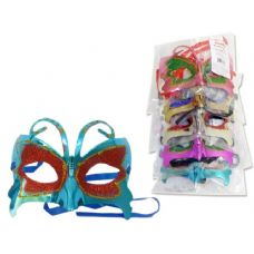 288 Units of MASK WITH GLITTEROPP+UPC. RED PK PUR GOL SIL BL - Costumes & Accessories