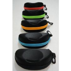 60 Units of Zippered Glasses Case [Black with Neon Zipper - Reading Glasses