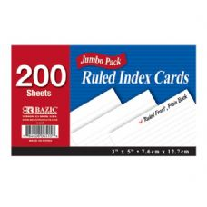 "36 Units of BAZIC 200 Ct. 3"" X 5"" Ruled White Index Card - Labels ,Cards and Index Cards"