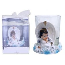 96 Units of POLYSTONE PRAYING ANGEL 2ASSTW/CANDLE IN PVC BOX - Candles & Accessories