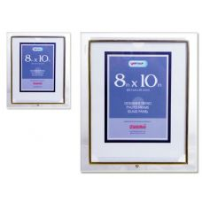 "96 Units of GLASS PHOTO FRAME 8X10"" CLEARGOLD TRIM METAL - Picture Frames"