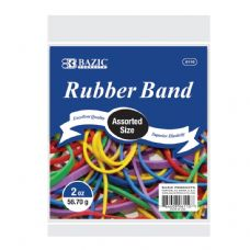 72 Units of BAZIC 2 Oz./ 56.70 g Assorted Sizes and Colors Rubber Bands