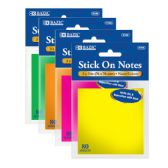"144 Units of BAZIC 80 Ct. 3"" X 3"" Neon Stick On Notes - Dry Erase"
