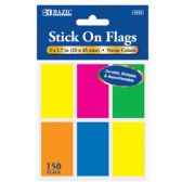 """72 Units of BAZIC 25 Ct. 1"""" X 1.7"""" Neon Color Standard Flags (6/Pack) - Dry Erase"""