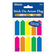 """72 Units of 25 Ct. 0.5"""" X 1.7"""" Neon Color Arrow Flags (10/Pack) - Dry Erase"""