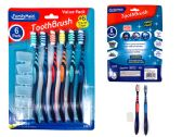 144 Units of TOOTHBRUSH 6PC/SET W/CAP ASST COLOR