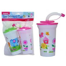 48 Units of CUP W/STRAW 2PC/SET W/HEADER - Baby Utensils