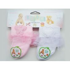 288 Units of SOCK INFANT 2PR/CARD HEARTW/DIAMOND - Baby Apparel