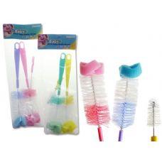 72 Units of 3PC Baby Bottle Brush Set 2 Bottle Brushes+1 Nipple Brush - Baby Accessories