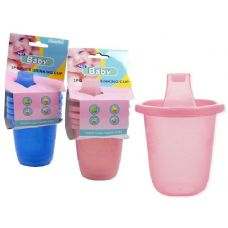 96 Units of DRINKING CUP KID'S 3PCPINK,BLUE CLR - Baby Utensils