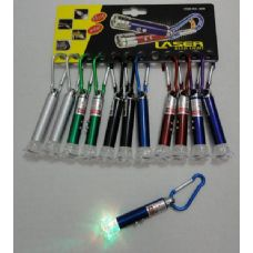 72 Units of 2 in 1 Laser & Multi Color Light with Keychain Clip--Rose Tip - Flash Lights