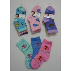 180 Units of Girl's Printed Crew Socks 2-4 - Girls Ankle Sock
