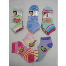 180 Units of Girl's Printed Anklet Socks 4-6 - Girls Ankle Sock