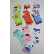 180 Units of Girl's Printed Crew Socks 6-8