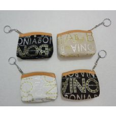 "36 Units of 4.5""x3.5"" Zippered Change Purse [Glitter Letters] - Leather Purses and Handbags"