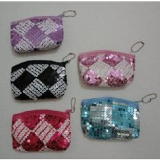 "36 Units of 4.5""X3.5"" Zippered Change Purse [Two-Tone Sequins] - Leather Purses and Handbags"