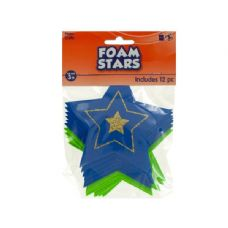 144 Units of Wholesale Foam Stars with Glitter