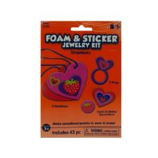 108 Units of Wholesale Strawberry Foam and Sticker Jewelry Kit - Stickers