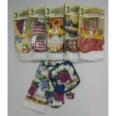 36 Units of 3pc Oven Mitt/Pot Holder/Dish Towel Combo