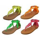 24 Units of Children Neon Colors Sandals - Girls Sandals