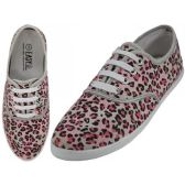 24 Units of Women's Red Leopard Print Canvas Shoes
