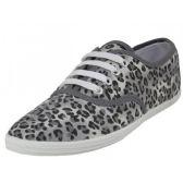 24 Units of Women's Grey Leopard Print Canvas Shoes - Women's Sneakers