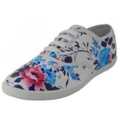 24 Units of Women's Roses Print Canvas Shoes