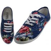 24 Units of Women's Navy Roses Canvas Shoes