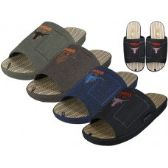 36 Units of Men Open Toes Embroidery Slippers