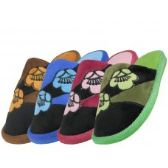 48 Units of Women's Satin Floral Printed Plush Upper Close Toe Slippers - Women's Slippers
