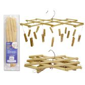 "72 Units of CLOTHES HANGER W/16PEGS BAMBOO2.3X1/2""PEG 13"" LONG - Clothes Pins"
