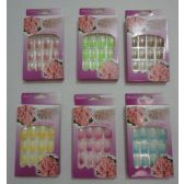 48 Units of Decorated Artificial Nails-Sparkle Tip with Flowers Package