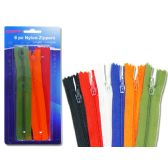 """96 Units of ZIPPERS 6 PC/PK 9"""" 6ASST CLR - SEWING KITS/NOTIONS"""