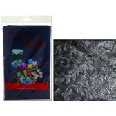 """96 Units of TABLECLOTH 54X108"""" BLACKEMBOSSED FLOWER - Table Cloth"""
