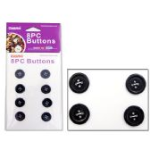 144 Units of BUTTONS 8PC WHITE - SEWING BUTTONS