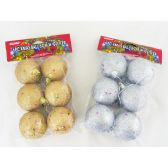 96 Units of XMS 6PC BALL W/GLITTER 2ASST - X-MAS