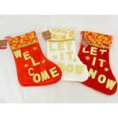 72 Units of XMS STOCKING 18X38CM - Christmas Stocking