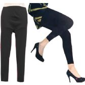 24 Units of Thin Solid Color All Black Legging - Womens Leggings