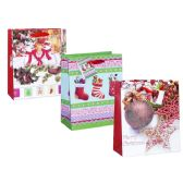 96 Units of BAG M XMS GL 23X18X10 3ASST DESIGN - Christmas Gift Bags and Boxes