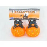 144 Units of DECOR. HALLOWEEN 2 PC SET CAT& PMKN - Halloween & Thanksgiving