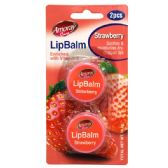 96 Units of Amoray Lip Balm 2pk Jar Strawberry - Cosmetics