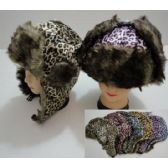 12 Units of Bomber Hat with Fur Lining [Cheetah Print] - Trapper Hats