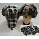 12 Units of Bomber Hat with Fur Lining [Plaid] - Trapper Hats