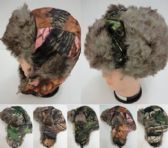 12 Units of Bomber Hat with Fur Lining--Camo - Trapper Hats