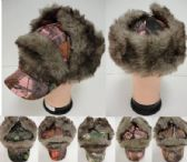 12 Units of Aviator/Baseball Hat with Fur [Hardwoods Camo] - Trapper Hats