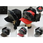 24 Units of Aviator/Baseball Hat with Long Fur [Solid] - Trapper Hats
